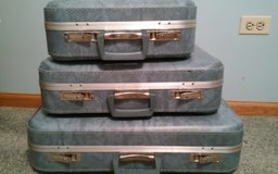 VINTAGE. BLUE LUGGAGE SET in Lockport, Illinois