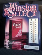 Winston select cigarette sign with thermometer in Clarksville, Tennessee