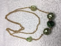 Vintage Necklace Gold Chain Green Beads Centered Long Lightweight Unusual in Houston, Texas