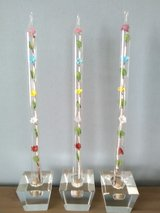 """Lot of 3 VTG Acrylic Lucite 12"""" Candlesticks (w/Floral Stems Inside) & Holders in Joliet, Illinois"""
