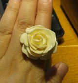 Ivory Rose and Gold Flower Ring in Beaufort, South Carolina