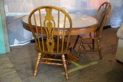 Pedestal Round Dining Table With Glass Top and Five Chairs in Fort Lewis, Washington
