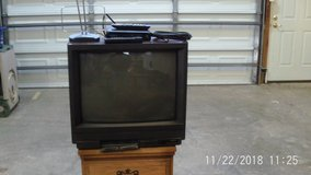 Sanyo TV with converter box antena coax cable and remotes in Rolla, Missouri