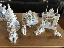 Beautiful 10 Piece Porcelain Christmas Decor Set in Oswego, Illinois