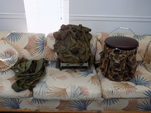 USMC Mil Spec Backpack with Frame, (6) Web Gear Y-Type Suspenders, 5 Gal Tackle Wrap in Camp Lejeune, North Carolina