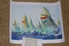 """July Sails"" seriolithograph wall art, colorful & just put a $50 frame on it > Signed! in Houston, Texas"