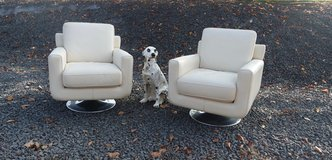 set of 2 genuine leather arm chairs in great shape in Stuttgart, GE