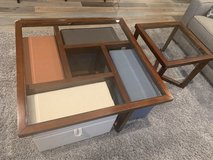 Coffee table and end table set with 4 pull out storage benches in St. Charles, Illinois