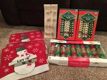 Christmas lot-placemats, crackers, garland in Naperville, Illinois