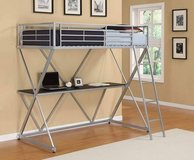 Silver Loft Bed with Desk and Mattress in Kirtland AFB, New Mexico