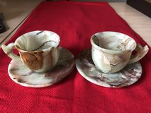Two Onyx tea cups with two saucers (4 pieces) in Lockport, Illinois