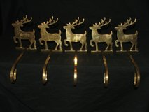 Reindeer Mantel Stocking Holders Brass / Names Engraved in Westmont, Illinois