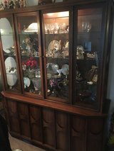 Vintage 1960 Uniquely Modern China Cabinet w/Light and a Serving Buffet Cabinet in Plainfield, Illinois
