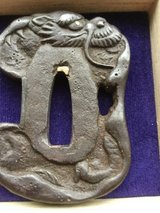 Unique Edo Period Iron Tsuba for a Tanto , which is also very stout with gold accents in the... in Okinawa, Japan