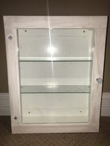 Distressed hand painted cabinet with shelves in Chicago, Illinois