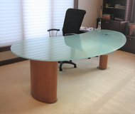 DANIA Desk with Tempered Glass Top - 2 Drawers in Joliet, Illinois