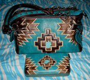Montana West Aztec Purse Wallet Set Matching Turquoise & Brown in Alamogordo, New Mexico