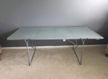 "IKEA Table - Dining or Desk Silver/Glass 79""L in Bolingbrook, Illinois"
