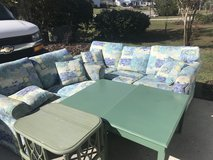 Sleeper sofa and love seat with 3 tables in Wilmington, North Carolina