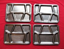 2 Stainless Steel Metal Military Mess Style Divided Food Prison Trays in Chicago, Illinois