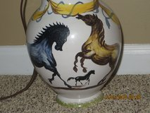 Vintage Italian Porcelain Lamp with Hand Painted Horses and Signed in Bolingbrook, Illinois