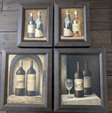 "4 wine bottle oil paintings, framed.  10""x12"", 7""x9"" in Chicago, Illinois"