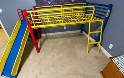 Twin loft bed with slide in Fort Campbell, Kentucky