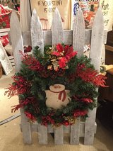 Snowman wreath w/fence in Bartlett, Illinois