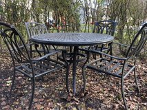 : ) Cast Aluminum Patio Set. includes Cushions. in Chicago, Illinois