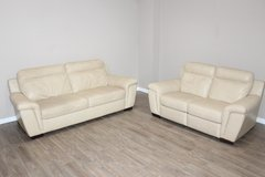 Leather Sofa Set- Cream color- Loveseat Recliner in Kingwood, Texas