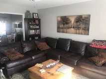 Brown 3 piece Leather Sectional in Fort Rucker, Alabama