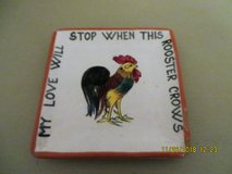 """Antique Italian Porcelain """"MY LOVE WILL STOP WHEN THIS ROOSTER CROWS Trinket Tray in Glendale Heights, Illinois"""