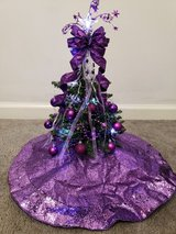 Small Christmas Tree with Purple Ornaments in Fort Campbell, Kentucky