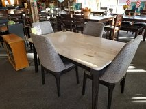 White Marble Table w/4 Gray Fabric Chairs in Rolla, Missouri
