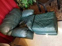 Green thick leather over size chair and ottoman set in Clarksville, Tennessee