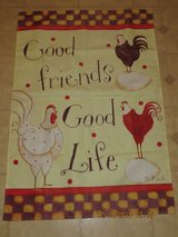 """""""Good Friends, Good Life"""" Chickens Front Porch Banner Flag in Glendale Heights, Illinois"""