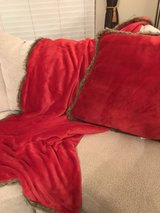 Large Christmas Red Decorator Pillow & Matching Throw in Pasadena, Texas