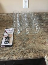Set of 12 wine glasses  with opener in Camp Lejeune, North Carolina