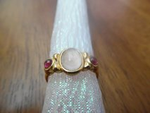 Vintage Rose Quartz and Garnet Avon ring by Twice Baked Vintage  Size 6.5 in Byron, Georgia