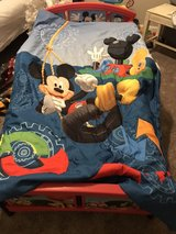 Mickey Mouse toddler bed, comforter and sheet set and hamper in Cochran, Georgia