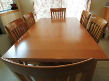 Solid hard wood dining table + 6 chairs in Aurora, Illinois