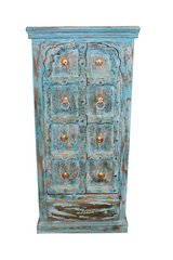 Antique Jharoka Cabinet Beautiful Hand Carved Chest Blue Armoire Vintage in Birmingham, Alabama
