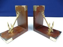 Wood and Brass Pivoting Ship's Anchor Bookends in Pasadena, Texas