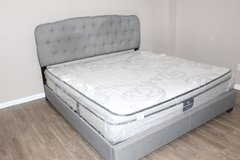 Contemporary King size Tufted Frame- Serta perfect sleeper mattress in Kingwood, Texas