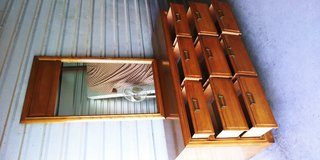 Solid wood 9 drawers dresser with mirror great condition in Fort Bliss, Texas