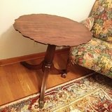 Antique Scalloped Mohagany Accent Table in Yorkville, Illinois