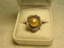 Custom Made Pearl & White Sapphire Cocktail Ring in El Paso, Texas