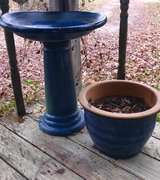 Cobalt Blue Birdbath w/ matching Flower Pot in Cleveland, Texas