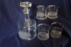 Beautiful Etched Decanter and Glasses in Conroe, Texas