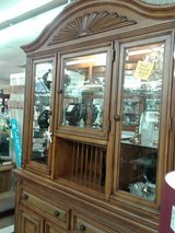 Wood/Wicker Glass & Mirror Lighted Cabinet 2286-340 in Camp Lejeune, North Carolina